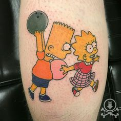 Awesome bowling Bart and Lisa Simpson tattoo by Tami Rose.  #12ozstudios #team12oz #tattoo #tattoos #tattoosnob #tattooed #tattooart #tattooartist #inked #thesimpsons #simpsontattoo #bartsimpson #lisasimpson