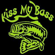 Kiss My Bass Vinyl Car Decal - Fishing Sticker Bass Fisherman Fish | LilBitOLove - Housewares on ArtFire