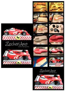 Formula 1 car cake tutorial by Love Sugar Cakes Artistische Racing Cake, Race Car Cakes, Car Cake Tutorial, Fondant Tutorial, Fondant Cakes, Cupcake Cakes, 3d Cakes, Ferrari Cake, Ferrari F1