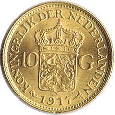 Moneda de oro 10 gulden Holanda. Varios años.