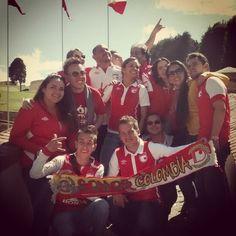La Sangreal apoyando a nuestro Independiente Santa Fe | Foto tomada en el puente de Boyacá