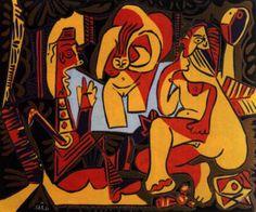 The Luncheon on the Grass  Le dejeuner sur l'herbe  enlarge      Artist: Pablo Picasso  Completion Date: 1962  Style: Naïve Art (Primitivism)  Period: Later Years  Genre: genre painting  Dimensions: 53.5 x 64.5 cm