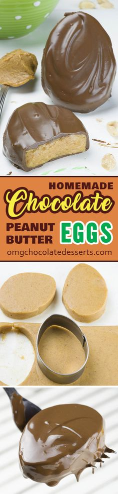 Homemade Chocolate Peanut Butter Eggs - simple, quick and easy no bake dessert recipe with peanut butter and chocolate , is perfect idea for Easter treat.