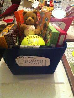 ... gift candy and a ball for the team to sign more softball gift cheer