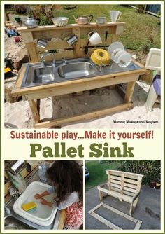 Recycling Fun with Rubbish and Pallets! - The Empowered Educ-Recycling Fun with Rubbish and Pallets! – The Empowered Educator Building a pallet kitchen sink from recycled materials – Find out how at Mummy Musings and Mayhem - Outdoor Play Spaces, Kids Outdoor Play, Backyard Play, Kids Play Area, Outdoor Play Kitchen, Backyard Games, Outdoor Games, Play Area Outside, Outdoor Sinks