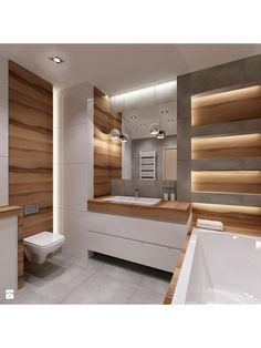 grey and wood in the bathroom