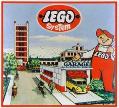 Back to the Past. - LEGO in the - history Vw Bus, Volkswagen, Vintage Lego, Vintage Ads, Vintage Stuff, Lego Boxes, Lego System, Lego Friends, Retro Art