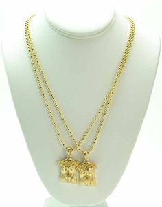 King ice 14k yellow cz mini jesus piece necklace 70 liked on 2 piece jesus 14k gold overlay micro piece mini charm pendant chain necklace set jewelry for her aloadofball Image collections