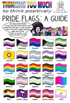 What you're seeing here is an updated version of my summer 2018 Pride Flags comic. The original version contained a mistake (I switched two colors on the ace flag, sorry. Lgbt Quotes, Lgbt Memes, Lgbtq Flags, Pansexual Pride, Lesbian Pride, Bisexual Pride Makeup, Lgbt Community, Funny, All Pride Flags