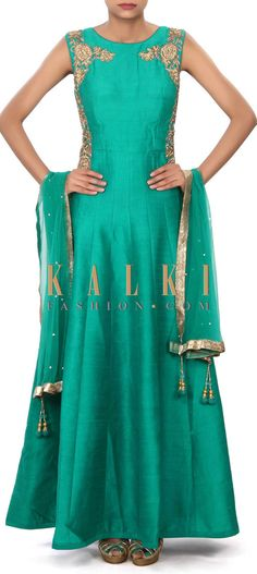 Buy Online from the link below. We ship worldwide (Free Shipping over US$100) Price- $249 Click Anywhere to Tag http://www.kalkifashion.com/green-anarkali-suit-embellished-in-zardosi-and-kundan-embroidery-only-on-kalki.html