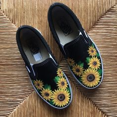 Listed on Depop by designsbyliberty is part of Painted shoes diy - Painted Canvas Shoes, Custom Painted Shoes, Painted Sneakers, Painted Clothes, Hand Painted Shoes, Disney Painted Shoes, Painted Vans, Black Shoe Paint, Sunflower Vans