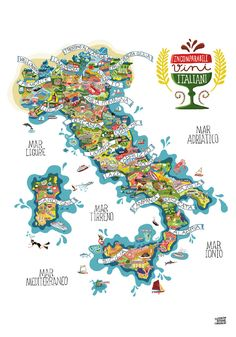 Highly detailed illustrated maps of Italy, Italian wines and Italian food