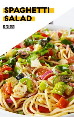 Spaghetti Salad Is Our New Thing For Summer PicnicsDelish Healthy Pasta Recipes, Pasta Salad Recipes, Gourmet Recipes, Dinner Recipes, Cooking Recipes, Potluck Recipes, Antipasto, Spaghetti Salad, Summer Salads