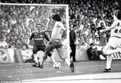 Peter Hucker in action for QPR in the 1985-1986 season as he saves from Everton's Gary Lineker