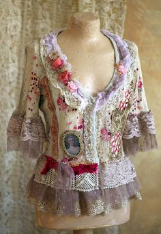 little baroque jacket romantic textile art jacket от FleursBoheme