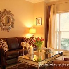 how to decorate room with brown leather sofa - Google Search
