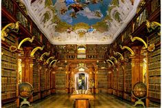 Library at the Melk Abbey (1089), Austria