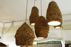 Marc Krusin's Recycled Bee Hive Lamps are Made from Recyclable Re-board    Read more: Marc Krusin's Recycled Bee Hive Lamp are Made From Re-board | Inhabitat - Sustainable Design Innovation, Eco Architecture, Green Building