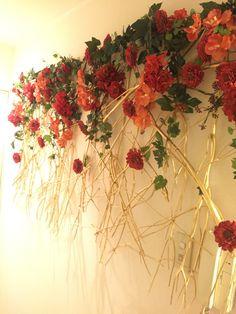 アーティフィシャルフラワーを壁面装飾