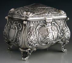SOLID SILVER TEA CADDY JEWELLERY CASKET BOX GERMANY c1900 #antique #vintage #box