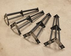 "Metal Table Legs- 16"" - Set of (4) Legs- 1/2"" Smooth Round Bar"