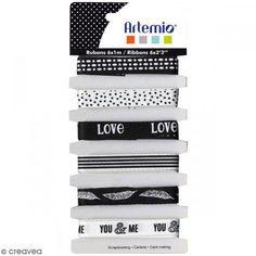 Cintas Artemio - Black & White - 1 cm x 1 m - 6 pcs - Fotografía n°1