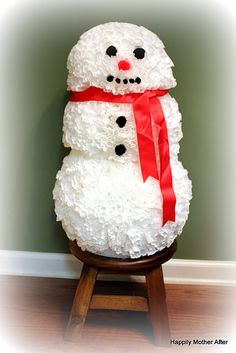 Coffee Filter Snowman DIY