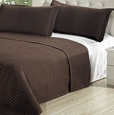 Modern Solid Brown Lightweight Bedding Quit Coverlet and Shams Set - Decorating ideas for a Modern and cozy bedroom decor