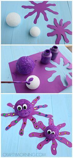 Styrofoam Ball Octopus Craft for Kids (fun for an ocean theme !) | CraftyMorning.com