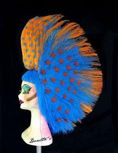Orange & Electric Blue Mohawk Wig  Coloured Stars  by Dorettas, £120.00