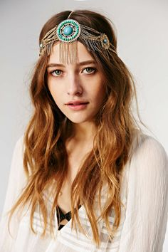Turquoise Circles Goddess Gold Fringe Tassel Chain Headwrap Headband @ Urban Outfitters $15