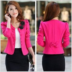 Nueva Moda Mujer Dama Tops Slim Suit ol Blazer Corto Abrigo Chaqueta Talla: S-3XL yf076