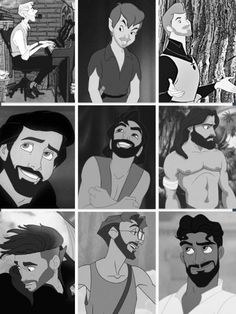 O hot damn, Disney men with beards. Except for Peter Pan.. he just looks creepy...
