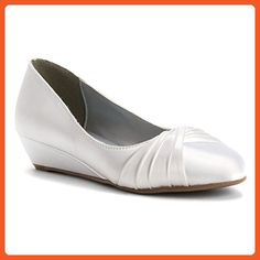 Dyeables Women's Rue Wedge,White Satin,US 9 W - Flats for women (