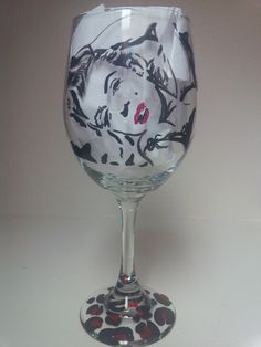 Marilyn Monroe hand painted wine glass
