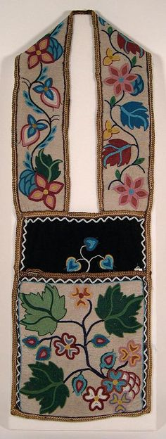 floral beadwork bandolier bags | Ojibwe, about 1930