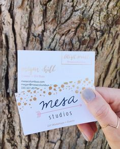 Business Card Design Gold Foil For Mesa Studios in Columbus, Ohio. Graphic Design by Inkwell and Co, LLC.