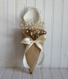Khaki burlap pew cone / rustic wedding decor by NutfieldWeaver I'd rather have this on my door than a reef how cute! Burlap Projects, Burlap Crafts, Diy Crafts, Handmade Wedding Decorations, Pew Decorations, Rustic Wedding, Our Wedding, Wedding Ideas, Burlap Lace