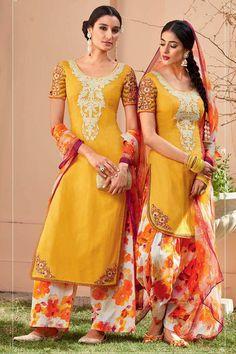 Yellow Cotton Punjabi Salwar Kameez