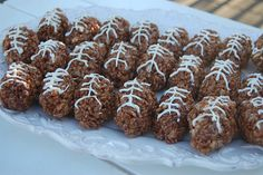 Football Rice Krispie Treats - I took these treats to a Super Bowl party once and the kids (and adults) loved them!