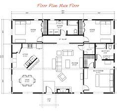 floor plan pre-designed ponderosa country barn home kit image 20x36
