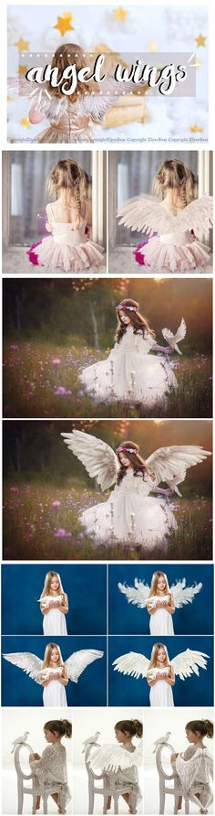 15 White Angel Wings Overlays PNG. Photoshop Layer Styles. $10.00