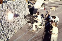 Shooting Joe Viscocil's explosions on the Death Star surface in the ILM parking lot.