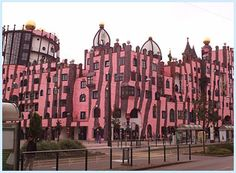 Pink and brown striped building in Magdeburg, Germany