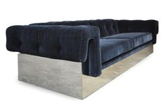 Sofa in the Manner of Baughman Mid century modern case sofa with chrome base, in the manner of Milo Baughman. Deeply upholstered in sumptuous Midnight blue mohair, this sofa is sure to please. Dimensions: W x D x H. Mid Century Sofa, Manners, Interior Design, Design Art, Sofas, Mid-century Modern, Milo Baughman, Couch, Luxury