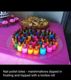 Nail Polish Bites - Marshmallows dipped in frosting with tootsie rolls for handles - cute for a shower or little girl party