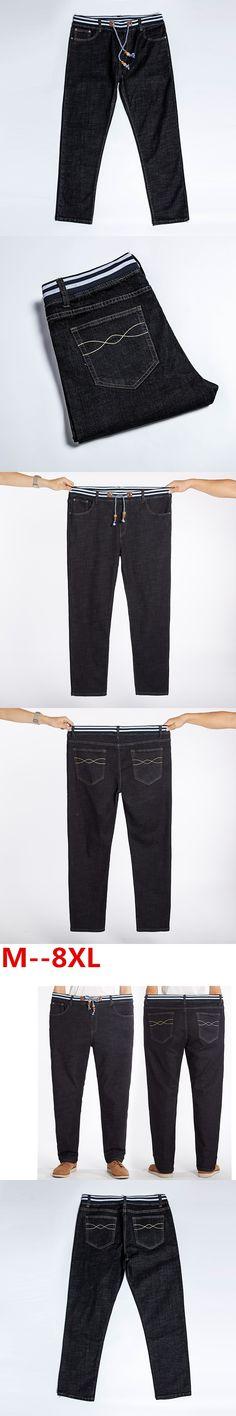 Plus size 10XL 8XL 6XL 5XL 4XL Men's Jeans Black High Stretch Denim Brand Men Jeans Size 40 42 46 48 50 52 Pants Trousers