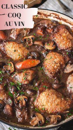 French Coq au Vin Chicken braised in red wine sauce.Chicken braised in red wine sauce. Chicken Recipes, Chicken Coq Au Vin Recipe, Duck Recipes, Braised Chicken, Crock Pot Coq Au Vin Recipe, Food Dishes, Favorite Recipes, Healthy Recipes, Chicken