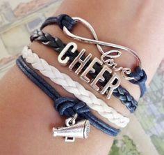 Infinity love Bracelet, Cheer Bracelet, cheerleader cheerleading bracelet, Antique silver Charm, blue navy/ white colors by SummerWishes on Etsy https://www.etsy.com/listing/231399384/infinity-love-bracelet-cheer-bracelet