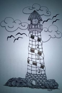 Lighthouse 5/8/15 ...Linda Heuston. For my new friend and fellow Zentangle enthusiast, Paolo! :)